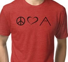 Peace, love and mountains Tri-blend T-Shirt