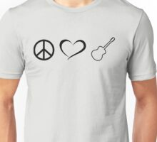 Peace, love and guitars Unisex T-Shirt