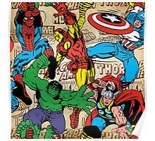 Marvel, avengers pattern Poster