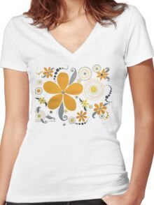 GARDEN PARTY #3 YELLOW & GRAY Women's Fitted V-Neck T-Shirt