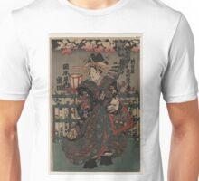 Anonymous - Courtesan Shigeoka of Okamoto-ya - Circa 1855 - Woodcut Unisex T-Shirt