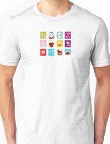 Advent Calendar. Christmas Time. Various cartoon christmas icons and elements. Unisex T-Shirt