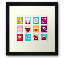 Advent Calendar. Christmas Time. Various cartoon christmas icons and elements. Framed Print