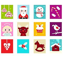 Advent Calendar. Christmas Time. Various cartoon christmas icons and elements. Photographic Print
