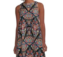 Bright colorful geometric floral tradition pattern A-Line Dress
