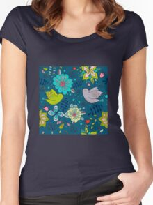 Flowers and birds in flight, a modern cute and busy repeating line drawing pattern on a fun dark grey background, classic statement fashion clothing, soft furnishings and home decor  Women's Fitted Scoop T-Shirt