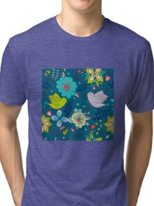 Flowers and birds in flight, a modern cute and busy repeating line drawing pattern on a fun dark grey background, classic statement fashion clothing, soft furnishings and home decor  Tri-blend T-Shirt