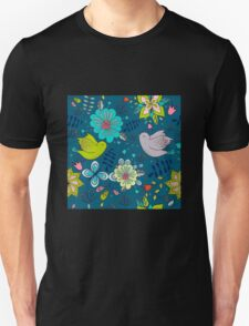 Flowers and birds in flight, a modern cute and busy repeating line drawing pattern on a fun dark grey background, classic statement fashion clothing, soft furnishings and home decor  Unisex T-Shirt