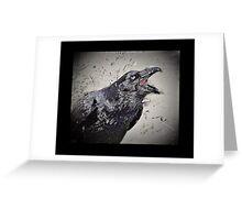 Croaking Black Raven Greeting Card