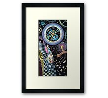 White rabbit trapped in time machine Framed Print