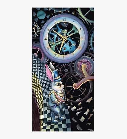 White rabbit trapped in time machine Photographic Print