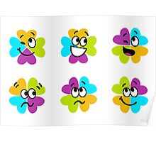 Happy collection of colorful four leaf clover for brighter Day : Original gift edition Poster