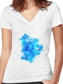 Abstract blue watercolor background Women's Fitted V-Neck T-Shirt