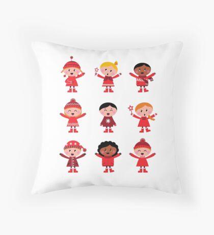 Little christmas cartoon children set - Original Winter Designers Edition Throw Pillow