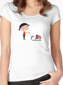 Retro christms Girl with sledge and christmas gifts Women's Fitted Scoop T-Shirt