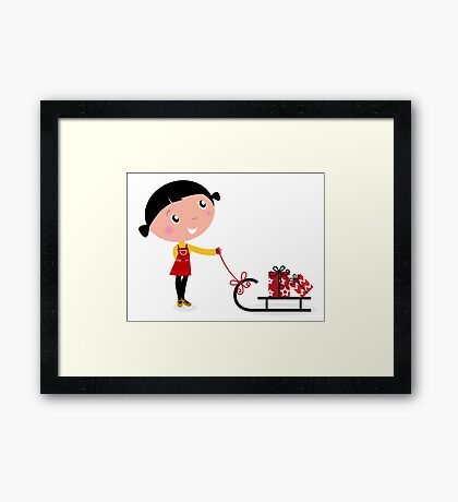 Retro christms Girl with sledge and christmas gifts Framed Print