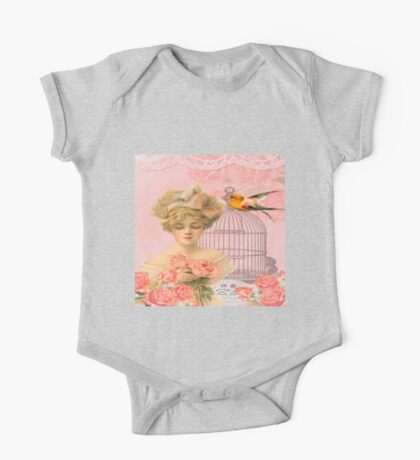 Beautiful,soft,pink,roses,bird,bird cage,beautiful young blond lady One Piece - Short Sleeve