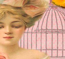 Beautiful,soft,pink,roses,bird,bird cage,beautiful young blond lady Sticker