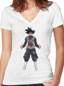 Goku Black Powering up Women's Fitted V-Neck T-Shirt