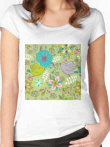 Sweet flowers and birds in flight, a cute line drawing pattern on a fun lime green background, classic statement fashion clothing, soft furnishings and home decor   Women's Fitted Scoop T-Shirt