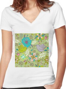 Sweet flowers and birds in flight, a cute line drawing pattern on a fun lime green background, classic statement fashion clothing, soft furnishings and home decor   Women's Fitted V-Neck T-Shirt