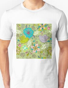 Flowers and birds in flight, a cute line drawing pattern on a fun lime green background, classic statement fashion clothing, soft furnishings and home decor   Unisex T-Shirt