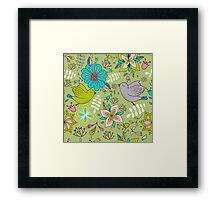 Sweet flowers and birds in flight, a cute line drawing pattern on a fun lime green background, classic statement fashion clothing, soft furnishings and home decor   Framed Print