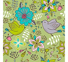 Sweet flowers and birds in flight, a cute line drawing pattern on a fun lime green background, classic statement fashion clothing, soft furnishings and home decor   Photographic Print