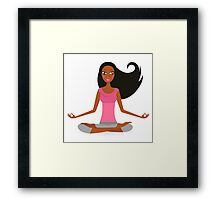 Cute afro woman practicing yoga exercise Framed Print