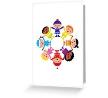 Colorful winter children in group. Vector illustration in retro style. Greeting Card