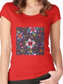 Fun colourful retro flower design in pink, lime green and turquoise, a pretty repeating design on a black background, classic statement fashion clothing, soft furnishings and home decor  Women's Fitted Scoop T-Shirt