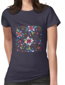 Fun colourful retro flower design in pink, lime green and turquoise, a pretty repeating design on a black background, classic statement fashion clothing, soft furnishings and home decor  Womens Fitted T-Shirt