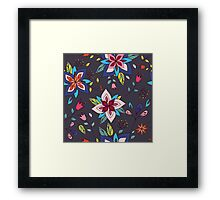 Fun colourful retro flower design in pink, lime green and turquoise, a pretty repeating design on a black background, classic statement fashion clothing, soft furnishings and home decor  Framed Print