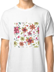 Retro 60's flower design in bright pink, lime green and orange, a colourful repeating floral design on a white background, classic statement fashion clothing, soft furnishings and home decor  Classic T-Shirt