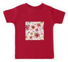 Retro 60's flower design in bright pink, lime green and orange, a colourful repeating floral design on a white background, classic statement fashion clothing, soft furnishings and home decor  Kids Tee