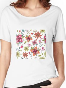 Retro 60's flower design in bright pink, lime green and orange, a colourful repeating floral design on a white background, classic statement fashion clothing, soft furnishings and home decor  Women's Relaxed Fit T-Shirt