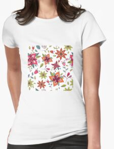 Retro 60's flower design in bright pink, lime green and orange, a colourful repeating floral design on a white background, classic statement fashion clothing, soft furnishings and home decor  Womens Fitted T-Shirt