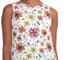 Retro 60's flower design in bright pink, lime green and orange, a colourful repeating floral design on a white background, classic statement fashion clothing, soft furnishings and home decor  Contrast Tank