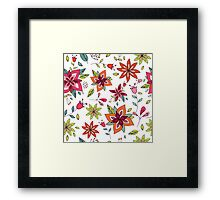 Retro 60's flower design in bright pink, lime green and orange, a colourful repeating floral design on a white background, classic statement fashion clothing, soft furnishings and home decor  Framed Print