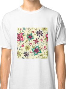 Retro 60s flower pattern on a pale yellow background, bright, colourful and fun floral repeating design, classic statement fashion clothing, soft furnishings and home decor  Classic T-Shirt
