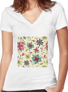 Retro 60s flower pattern on a pale yellow background, bright, colourful and fun floral repeating design, classic statement fashion clothing, soft furnishings and home decor  Women's Fitted V-Neck T-Shirt