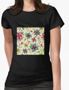 Retro 60s flower pattern on a pale yellow background, bright, colourful and fun floral repeating design, classic statement fashion clothing, soft furnishings and home decor  Womens Fitted T-Shirt