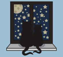 Two cats watching the night Kids Tee