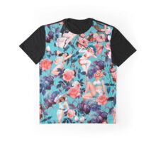 Pinup and Floral Pattern Graphic T-Shirt