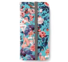 Pinup and Floral Pattern iPhone Wallet/Case/Skin