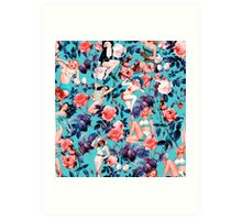 Pinup and Floral Pattern Art Print