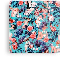 Pinup and Floral Pattern Metal Print