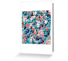 Pinup and Floral Pattern Greeting Card