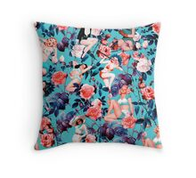 Pinup and Floral Pattern Throw Pillow