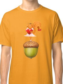Happy squirrel with heart standing on acorn illustration art Classic T-Shirt